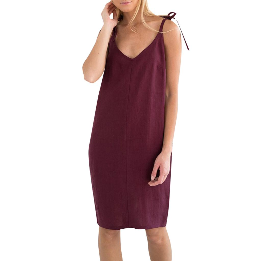 Ladies Sling Cotton And Linen Dress Summer Casual Loose Solid Color Knee-Length Dresses Little Sexy