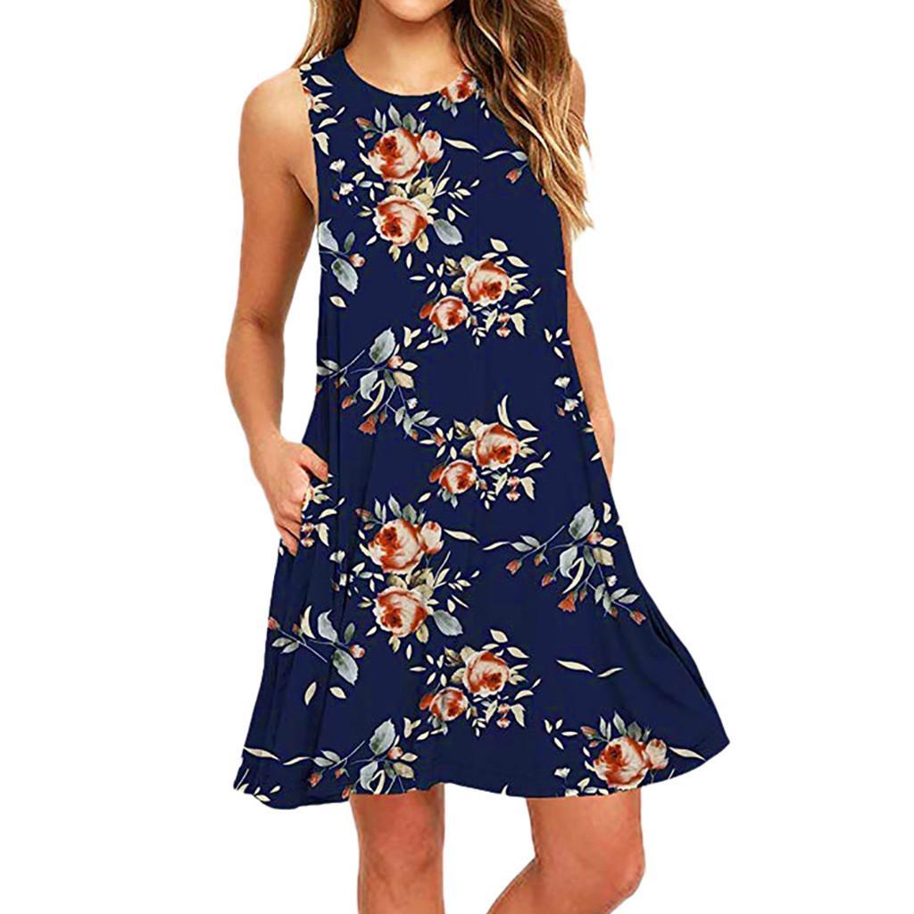 Ladies Print Color Sleeveless Bohemian A Line Dress Mini Casual Pocket Dresses Casual Mini Beach Clo