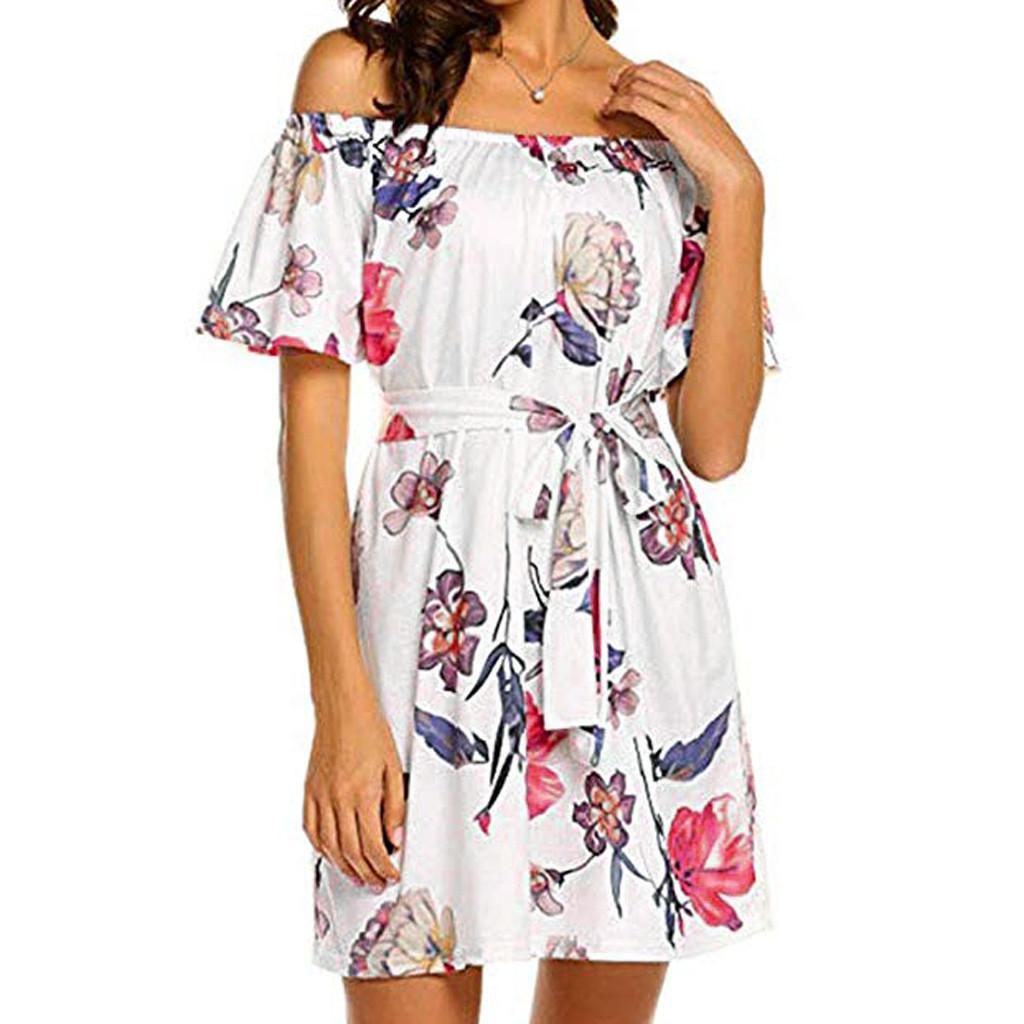 Ladies Dress Ladies' Summer Sexy Word Collar Belt Waist Sundress Casual Beach Print Dresses New Clot